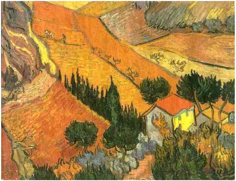 Vincent van Gogh (1853-1890). Valley with Ploughman Seen from Above 1890 (2)
