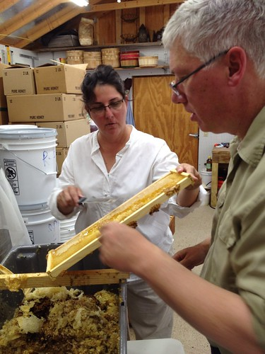 Mark shows Patti how to extract honey