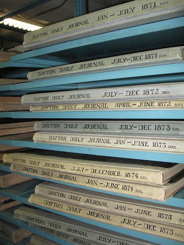 Bound volumes of the Dayton Journal at the Dayton Metro Library