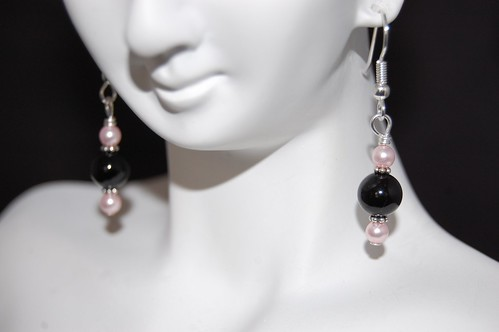 Pink Pearl and Obsidian Earrings