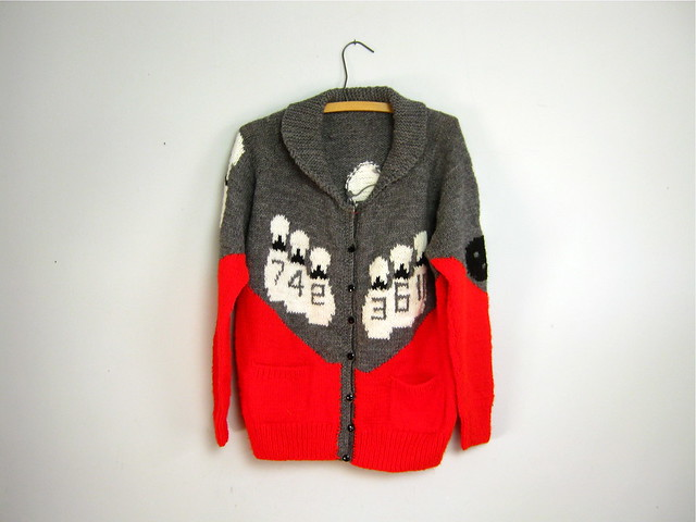 hand knit BOWLING cardigan sweater