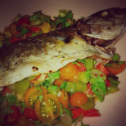 Baked bluefish with pico de gallo