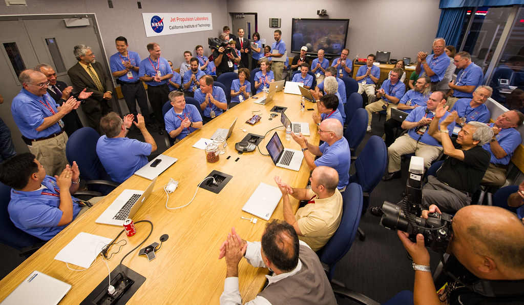 The table at NASA's Jet Propulsion Laboratory warroom is nothing but MacBook Pro: