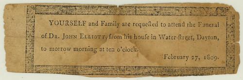 Invitation to John Elliot's funeral, 27 Feb. 1809