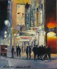 夜街上的青年人