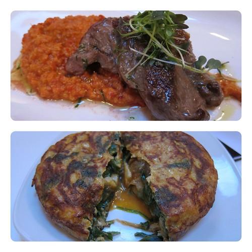 Pluma with romenesco sauce, tortilla with salt cod and spinach