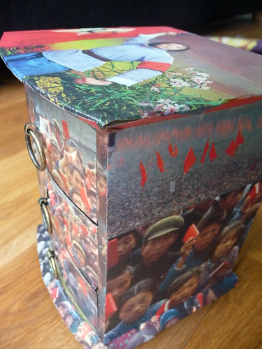 Decoupage box with Chinese propaganda photos
