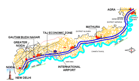 The route map of the Yamuna expressway; this photo courtesy - YEIDA