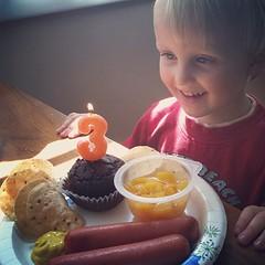 Cake 'n' hotdogs! He loves the birthday singing, too. ❤