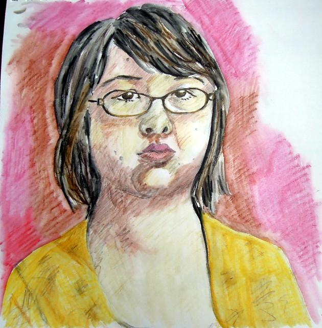 Self-portrait in water-soluble pencils