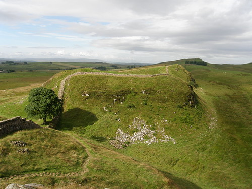 Sycamore Gap, looking back to Winshields Crags