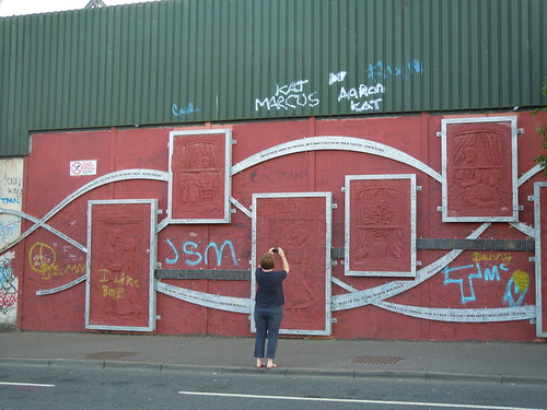 Angie at the Peace Wall