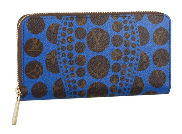 Zippy Wallet Monogram Pumpkin Dots Blue