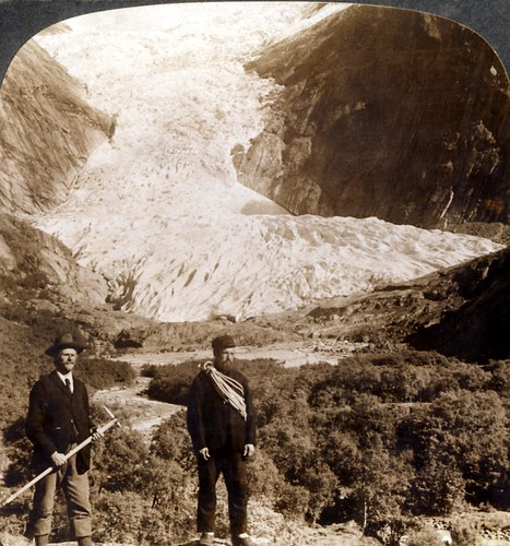 Perilous Brigsdal Glacier, one of the grandest in all Norway - early 1900s