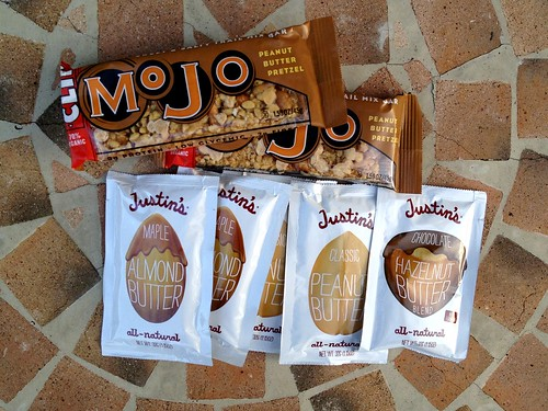Justin's nut butter and Clif bars