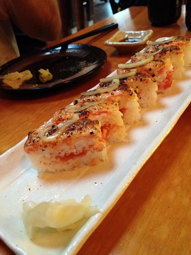 kishimoto pressed salmon sushi