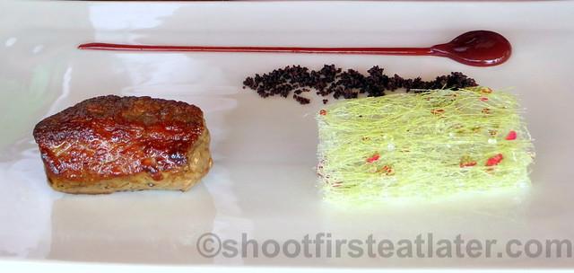 Akelare's Aranori menu - charcoal grilled lamb with the wine lees