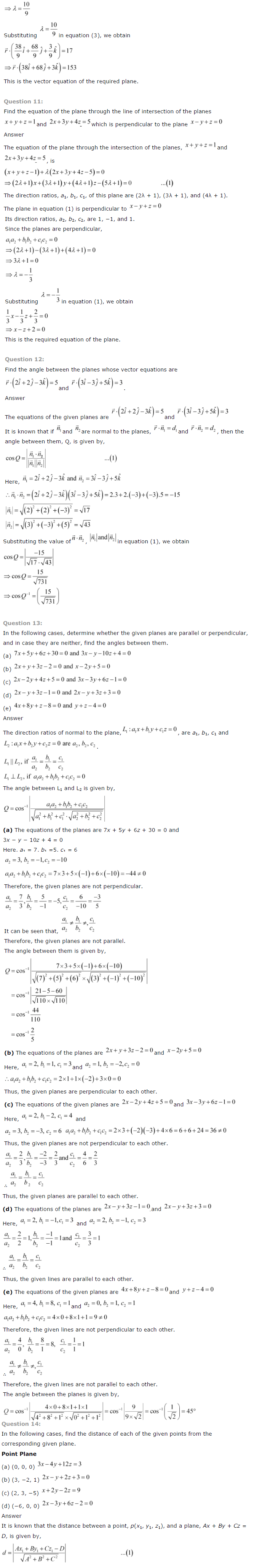 NCERT Solutions for Class 12 Maths Chapter 11 Three Dimensional Geometry ex 11.7