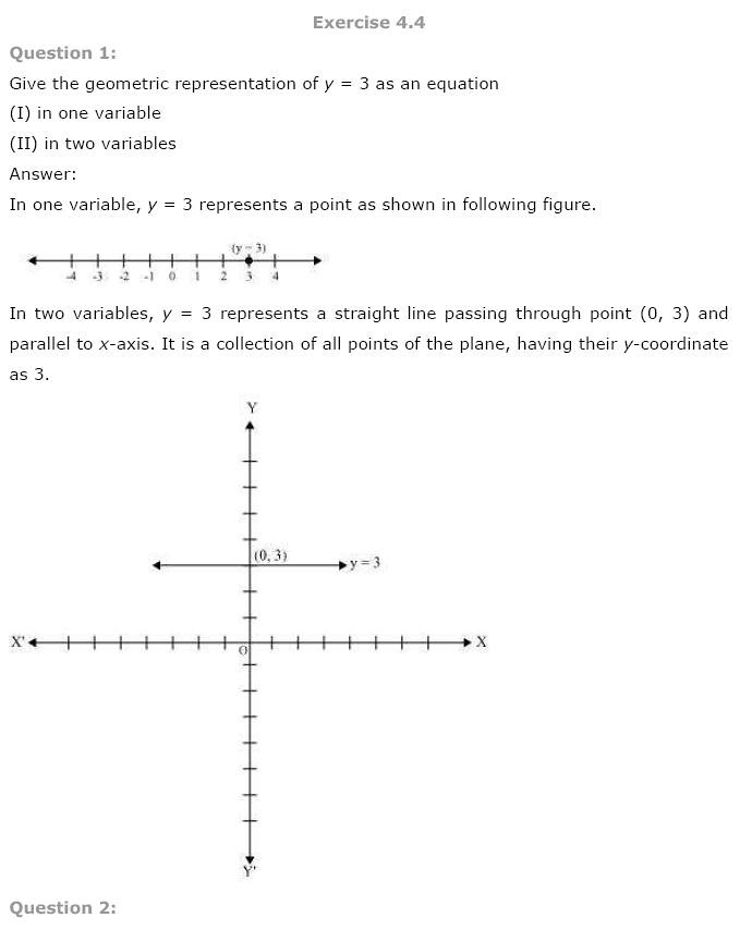 NCERT Solutions For Class 9th Maths Solutions Chapter 4 Linear Equations in Two Variables Download 2018-19 New Edition PDF