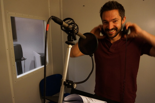 Voice-over recording session