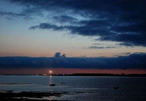 the Penmarch lighthouse in the background at dusk