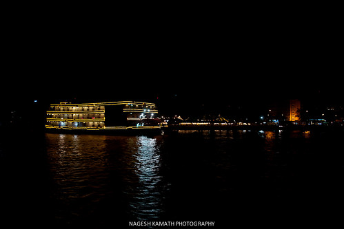 Lit cruise boats on the Mandovi