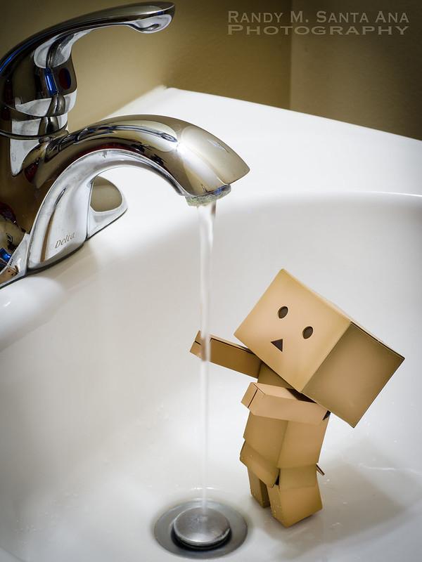Danbo Adventures: Danbo Washes hands.