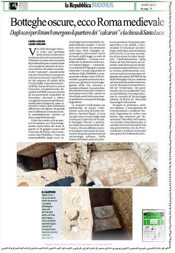 """ROMA ARCHEOLOGIA: Botteghe Oscure, ecco Roma Medievale (...) emergano il quartiere dei""""calcarari e la chiesa di Santa Lucia. LA REPUBBLICA (19/09/2012), P. 19. by Martin G. Conde"""