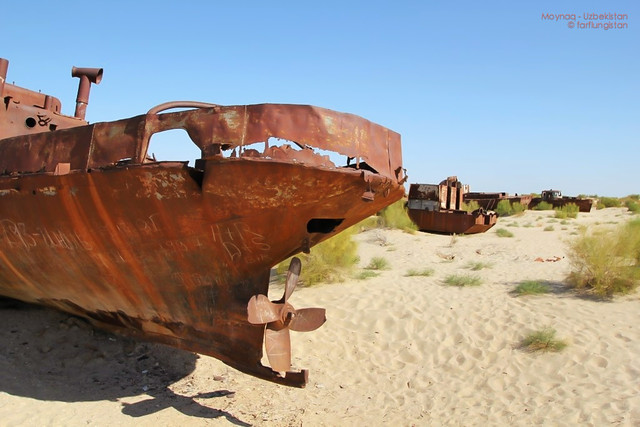 The edge of the Aral Sea in Moynaq - Karakalpakstan