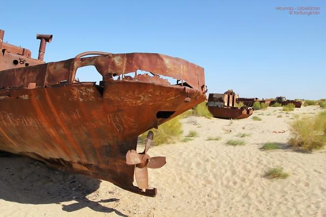 The edge of the Aral Sea in Moynaq - Karakalpakstan
