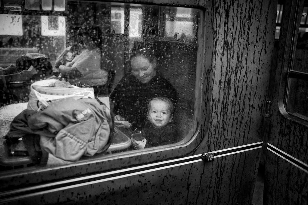 Through a rainy carriage window
