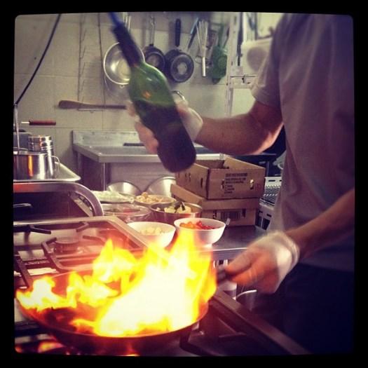 Pasta in XO Sauce in the making. Hot pan + liquor = flambé baybehhhh