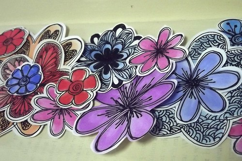 Watercolor and ink: Flowers