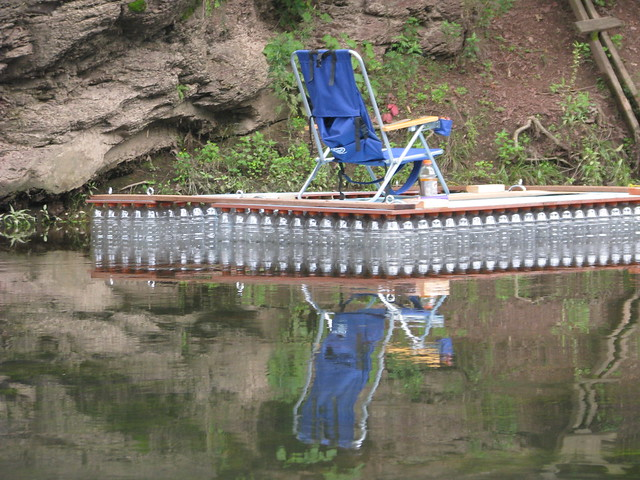 Check out this cool raft we saw-made out of Gatorade bottles!