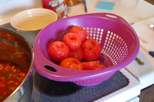 I peeled and chopped the pounds of tomatoes