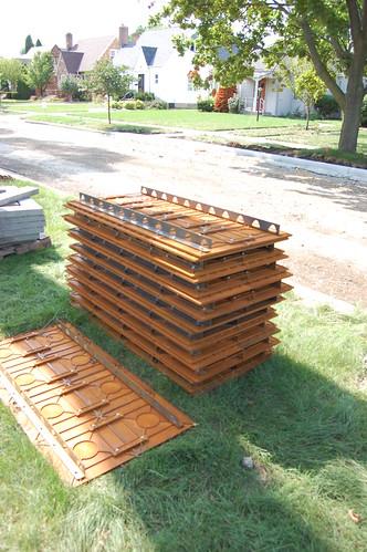 stack of metal ramp plates