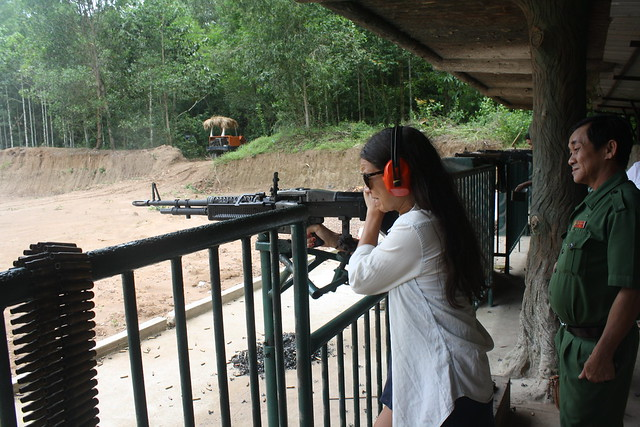 Firing an M60 at the Cu Chi Tunnels
