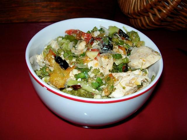 Charred Tomato, Broccoli and Chicken Salad