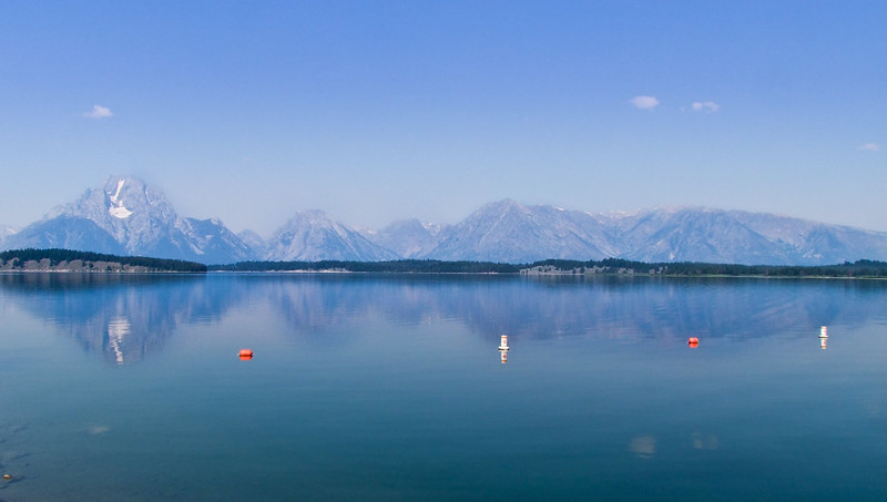 Mount Moran Teton Range reflected in Jackson Lake, Grand Teton National Park