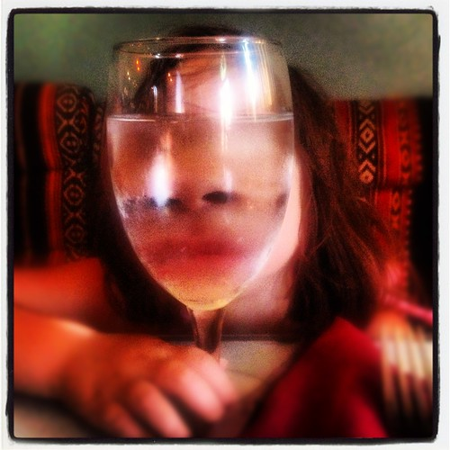 face in glass