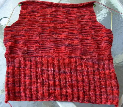 Ondule sweater back--nearly finished