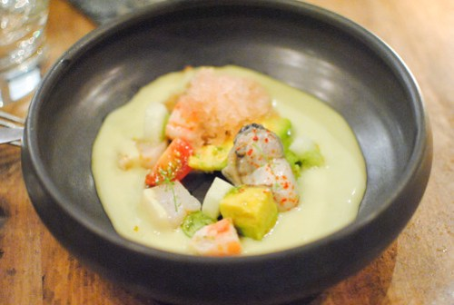 avocado gazpacho hokkaido scallop, king crab, oyster, mariscos cocktail granite