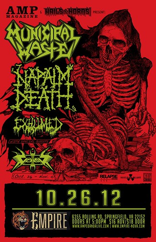 Poster for Municipal Waste and Napalm Death at Empire