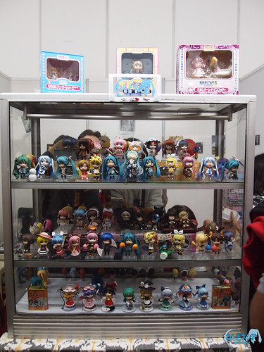The display case, filled with Nendoroid