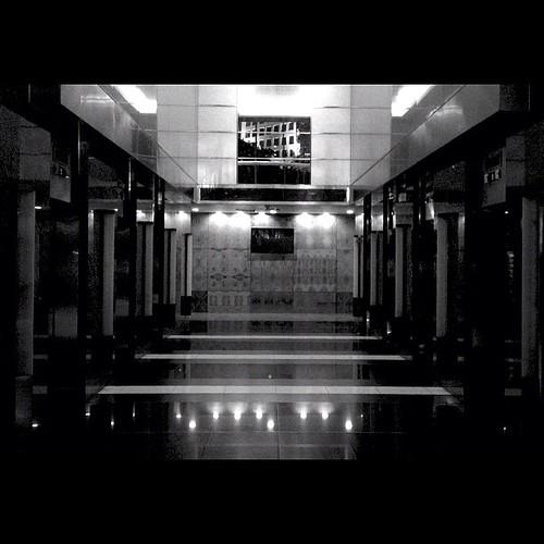 Elevator lobby. Taken 9.20.12. Pasig, Philippines. #iphone4s #photooftheday #photographyeverday #iphoneonly #iphoneography #instagood #instamood #blackandwhite #monochrome #cityscape #snapseed #awesomeshots #igersasia #igersjapan #igersmanila #instaphilip