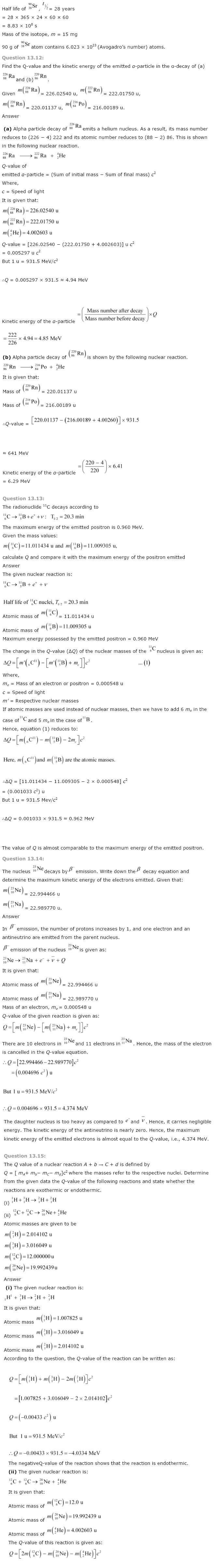 NCERT Class 12th Physics Solutions Chapter 13 Nuclei