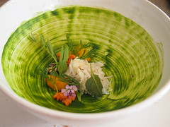 Brown crab, egg yolk and herbs