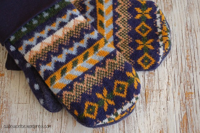 upcycled mittens, men size