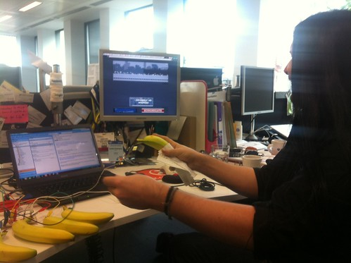 David playing the bananas