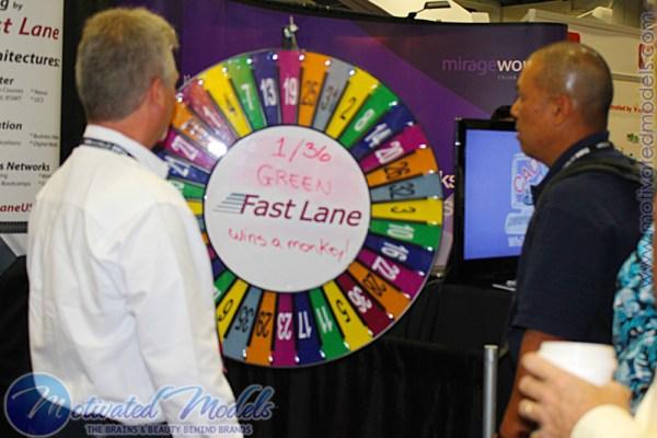 VMWorld marketing, vmworld prize wheel, prize wheel, giveaway, spin to win, trade show spin wheel, trade show, spin wheel